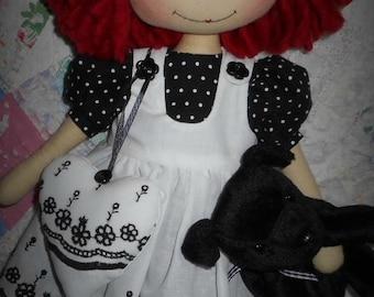 E-pattern 16 inch Raggedy Annie, cloth doll