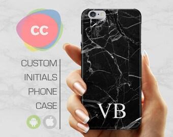 iPhone 8 Case - Black Marble Initial Custom - iPhone 8 Plus Case - iPhone X Cases - New Apple iPhone 8 Cases - Personalize iPhone - PC-245