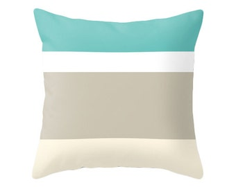Stripe pillow stripe cushion teal pillow coastal pillow nautical pillow stripes pillow teal cushion nautical cushion stripes cushion
