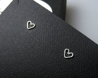 Sterling Silver Heart Stud Earrings | Small Stud Earrings | Heart Shape Earrings | Everyday Silver Studs | Minimalist Studs | Made to Order