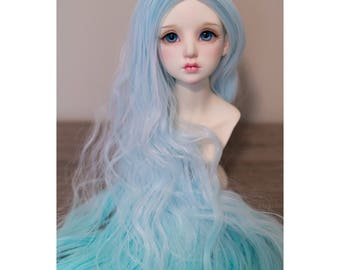 BJD handmade gradient/ ombre color long curl wavy wig sky blue & turquoise