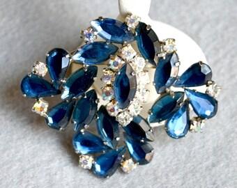 Asymmetrical Blue Rhinestone Brooch Vintage