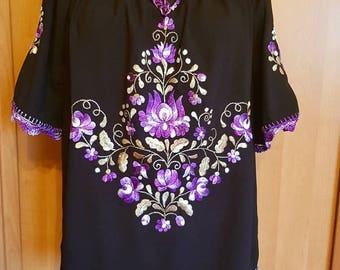 Hungarian Black Purple Blouse Floral hand embroidered, Peasant blouse,  black floral peasant blouse, Hungarian embroidered
