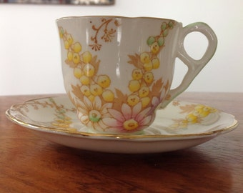 Royal Stafford five vintage teacups demitasse cups - bone china - floral cups
