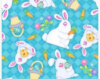 ON SALE Easter Bunnies on Blue Fabric / Hippity Hop by Shelly Comiskey for Henry Glass 6682 11 / Yardage / Easter Fabric by the yard / Fat Q