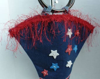 NEW one of a Kind Purse made with repurposed Denim Vintage Fringe Lace and Plastic Handles  (E)