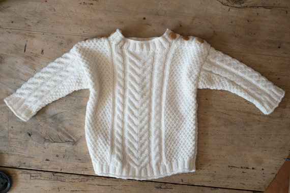 Handknit aran baby sweater - toddler aran sweater - celtic baby - fisherman's sweater - fisherman jumper - cable knit sweater - merino yarn
