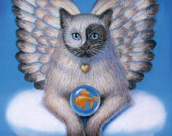 CAT angel Yin Yang face spiritual art Zen Siamese artwork fantasy poster print of painting by Sue Halstenberg