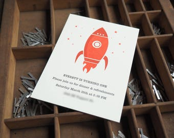 Rocket Ship Letterpress Invitation