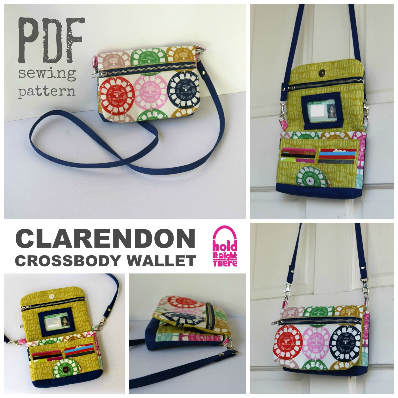 PDF SEWING PATTERN Clarendon Crossbody Wallet Card Pockets