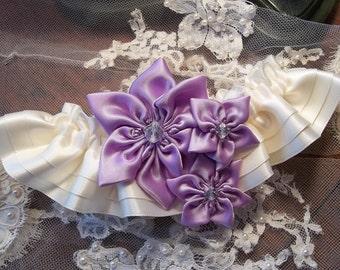 Lilac Wedding Garter Set, Orchid Star Flower and Ivory Garter ( Includes toss garter ) Set