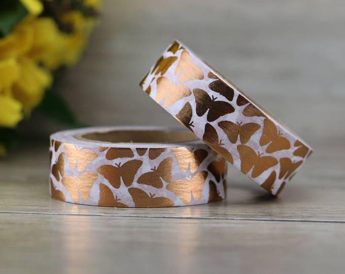 Copper Foil Butterfly Washi Tape - Copper foil washi Tape -  Washi Tape - Paper Tape - Planner Washi Tape - Washi - Decorative Tape - Copper