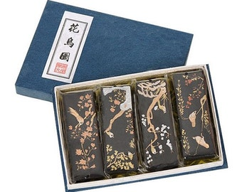 Free Shipping Chinese Calligraphy Material  Hu Kaiwen Extra Fine Pine Soot Ink Stick Ink Block Set / Birds & Flowers - 125g- 0014P