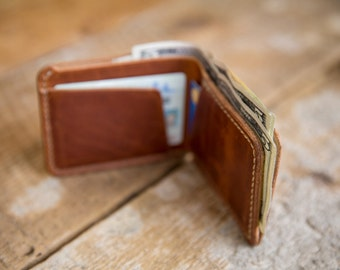 Hand-Stitched Horween Leather Bifold Wallet in Chestnut Dublin