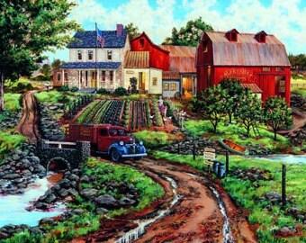 Rural Farm art,barns,Nostalgic Americana,original oil painting, country scene, farm scene, rural scene, old truck painting, 30 x 40 original