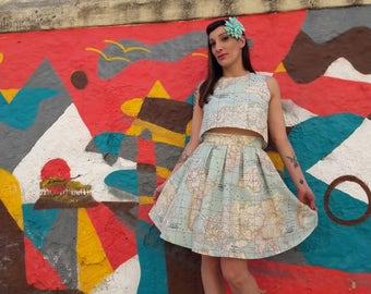World Map Crop Top and Skirt Set, Map Dress Set, Vintage Inspired Atlas Print Dress Set, Map of the World Blue Dress, Made to Order
