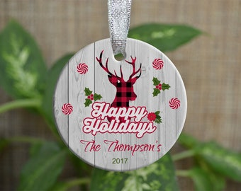 Personalized Christmas Ornament, Our First Christmas as a family ornament, Custom Christmas Ornament, Deer ornament, Christmas gift. o65