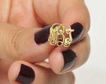 Gold Monogram Earring Custom Jewelry İnitial inspirational Earrings Monogram Jewelry Bridesmaid Gift Personalized Gift Personalized Jewelry