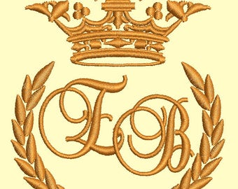 """Crown, laurel wreath and the monogram letter """"EB"""" - Machine embroidery design,   design tested."""