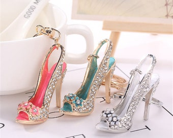 Keyring Bag Charm Pendant Keys Holder Crystal High Heel Shoes Charms Pendants Keychain Jewelry Key Chain Women Girl Gifts Accessories