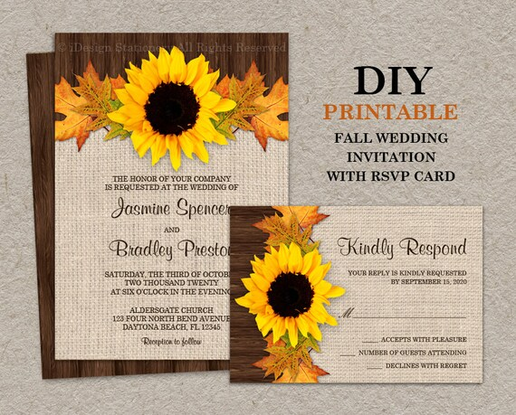 Printable Wedding Invitation Sets: Fall Sunflower Wedding Invitations With RSVP Cards DIY