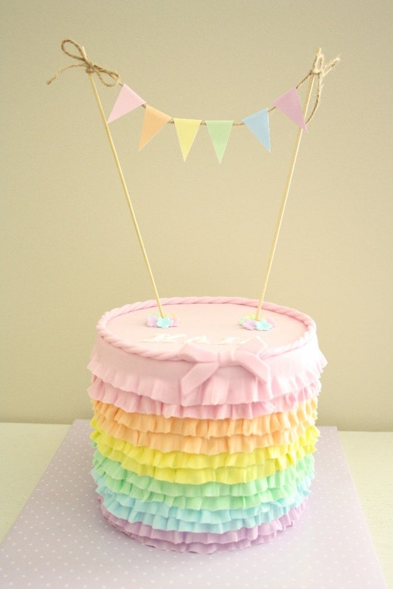 Mini Cake Bunting Banner Pastel Colours Instant Download