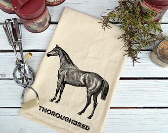 Flour Sack Towel, Farmhouse Kitchen Towel, Flour Sack Dish Towel, Cotton Dish Towel, Horse Towel Flour Sack, Thoroughbred Horse Towel