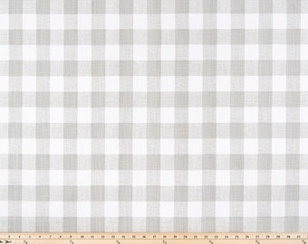 French grey Buffalo Plaid  Print. Grey and white Premier Prints.  Slub canvass Fabric by yard. Medium decor fabric.