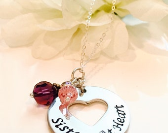 Hand Stamped Sister Necklace-Sisters at Heart Necklace-Sister Best Friend-Sister Jewelry-Sister Pendant-
