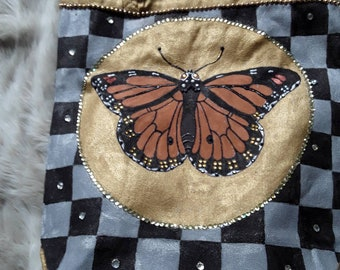 Hand Painted One of a Kind Tote Bag with Butterfly Motiff