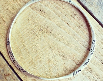 Sterling Silver Bangle with Quote, Personalized Bracelet, Inspirational Quote Bracelet, Stacking bangles, Graduation Gift, Gift for her