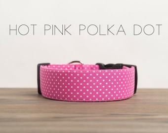 """Modern Classic Fashion Inspired Dog Collar """"The Hot Pink Polka Dot"""""""