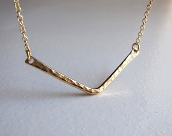 Gold necklace, V bar necklace, gold filled or sterling silver geometric jewelry.