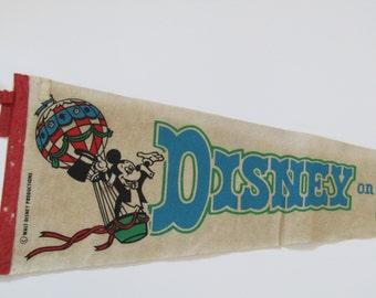 Disney On Parade Walt Disney Productions  Souvenir Pennant-1970's