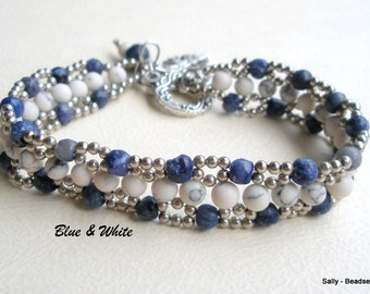 Blue and White Gemstone Bracelet, Lapis and Howlite Beaded Bracelet, Blue Lapis and White Howlite Bracelet,