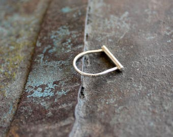 bar ring, Sterling Silver hammered ring