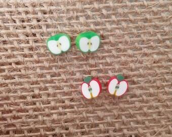 Apple Stud Earrings,Green Apple Earrings,Fruit Earrings,Fruit Studs,Red Apple Earrings,Green Apple Studs,Red Apple Studs,Teacher Gift