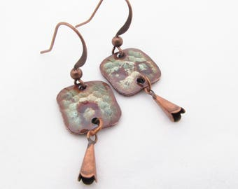 Tiny Patina Green Hammered Square Earrings with Bell Drop