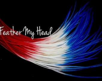 """Feather Hair Extensions - Multi Color Long 9""""-12"""" (23-30cm) - 5 Pc - Red White Blue - Stars And Stripes"""