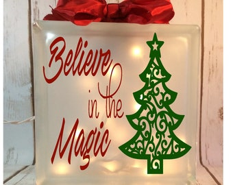 Believe in the Magic etched lighted 8x8 glass block, Christmas tree, holiday, nightlight, nativity, santa, glass box, lights