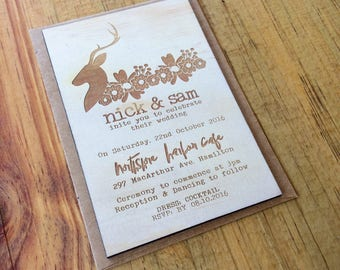 Wedding invitation - Timber wedding invitation - Boho Tribal Design - Pack of 10