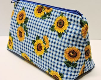 Checkered Sunflower Cosmetic Bag, Toiletry Bag, Zipper Pouch, Make Up Bag, Jewelry Pouch, Yellow, Blue, White