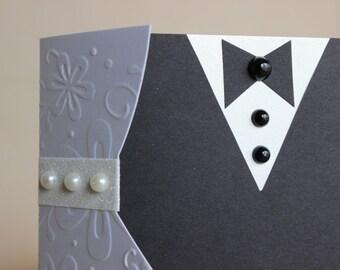Bride and Groom Wedding Card Money Holder Handmade Tri-fold Card
