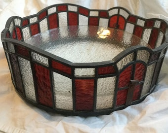 Art deco stained glass pendant light fitting