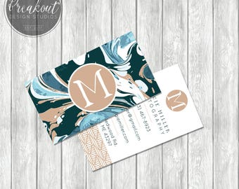 Maggie - Artistic Double-Sided Monogram Paint Business Card Design