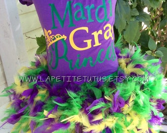 Mardi gras Princess shirt, girls mardi gras tutu, feather tutu dress, tutu flower girl dresses, feather tutu dress, mardi gras tutu