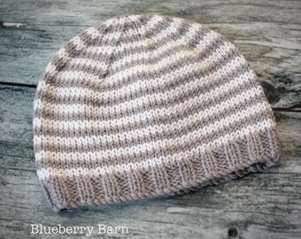 Baby Luxury Cashmerino Beanie Hat - Slate Grey, White Stripes - Hand Knit, UK Seller