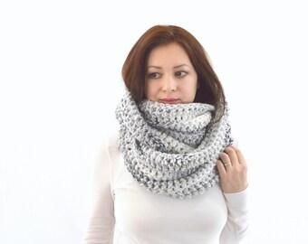 Knit Crochet Chunky Woman Men Infinity Scarf | The Zurich