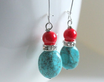Turquoise Earrings, Coral Earrings, Southwestern Jewelry, Southern Bride, Cowgirl Jewelry, Coral Jewelry, Country Living, Turquoise Jewelry