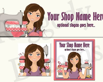 New! Premade Etsy Cover Photo - Large Etsy Banner - Etsy Shop - SHOP ICON - Shop Profile - Brunette Lady Sewing Machine - Arts & Crafts